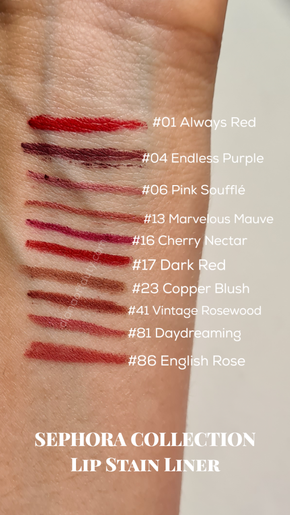 sephora collection lip liner swatches